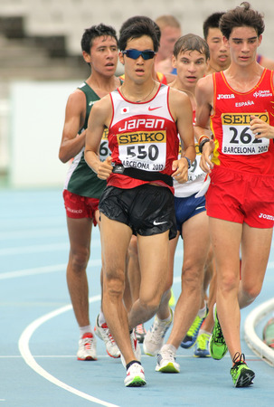 finalist: Takumi Saito of Japan during 10000 metres race walk event of of the 20th World Junior Athletics Championships at the Olympic Stadium on July 13, 2012 in Barcelona, Spain
