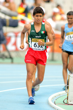 metres: Erwin Gonzalez of Mexico during 10000 metres race walk event of of the 20th World Junior Athletics Championships at the Olympic Stadium on July 13, 2012 in Barcelona, Spain
