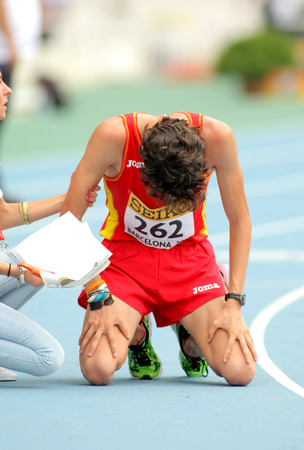 metres: Alvaro Martin of Spain when finished 10000 metres race walk event of of the 20th World Junior Athletics Championships at the Olympic Stadium on July 13, 2012 in Barcelona, Spain