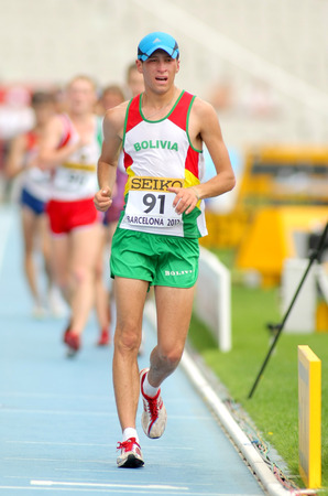 finalist: Marco Antonio Rodriguez of Bolivia during 10000 metres race walk event of of the 20th World Junior Athletics Championships at the Olympic Stadium on July 13, 2012 in Barcelona, Spain