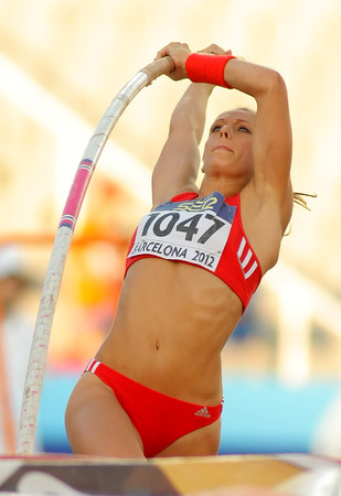 medalist: Kira Grunberg of Austria in action during Pole Vault Event of the 20th World Junior Athletics Championships at the Olympic Stadium on July 14, 2012 in Barcelona, Spain