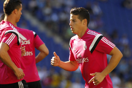 winger: James Rodriguez of Real Madrid of before a Spanish League match against RCD Espanyol at the Power8 stadium on Maig 17 2015 in Barcelona Spain