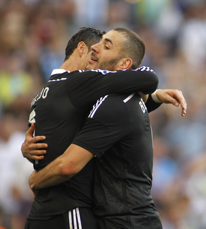 Karim Benzema of Real Madrid during a Spanish League match against RCD Espanyol at the Power8 stadium on Maig 17 2015 in Barcelona Spain