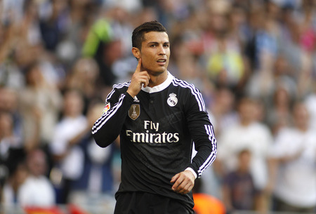 winger: Cristiano Ronaldo of Real Madrid celebrating a goal during a Spanish League match against RCD Espanyol at the Power8 stadium on Maig 17 2015 in Barcelona Spain