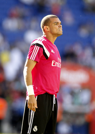 to pepe: Pepe Lima of Real Madrid before a Spanish League match against RCD Espanyol at the Power8 stadium on Maig 17 2015 in Barcelona Spain
