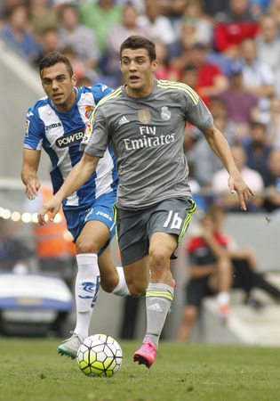 futbol soccer: Mateo Kovacic of Real Madrid during a Spanish League match against RCD Espanyol at the Power8 stadium on September 12 2015 in Barcelona Spain Editorial