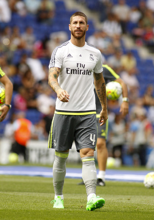 sergio: Sergio Ramos of Real Madrid during a Spanish League match against RCD Espanyol at the Power8 stadium on September 12 2015 in Barcelona Spain Editorial