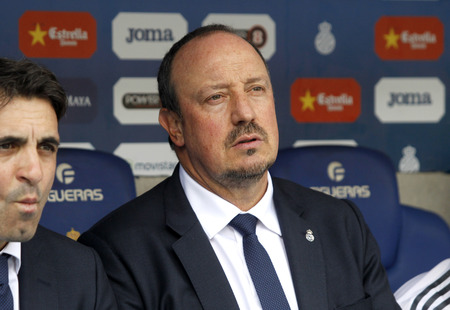 futbol: Rafael Benitez manager of Real Madrid during a Spanish League match against RCD Espanyol at the Power8 stadium on September 12 2015 in Barcelona Spain Editorial