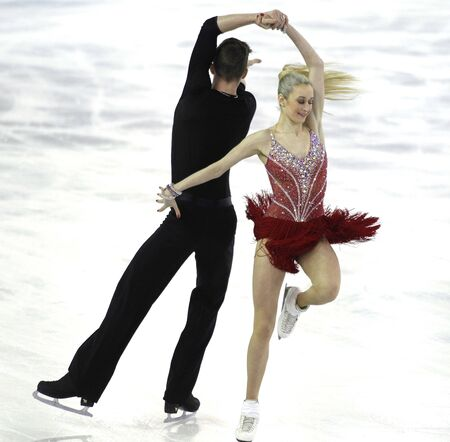 Anna Yanovskaya and Sergey Mozgov from Russia during Junior Pairs Ice Dance event of ISU Grand Prix of Figure Skating Final 2014 at CCIB on December 11, 2014 in Barcelona, Spain