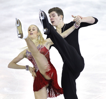 winter dance: Anna Yanovskaya and Sergey Mozgov from Russia during Junior Pairs Ice Dance event of ISU Grand Prix of Figure Skating Final 2014 at CCIB on December 11, 2014 in Barcelona, Spain