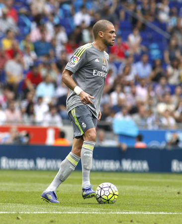 to pepe: Pepe Lima of Real Madrid during a Spanish League match against RCD Espanyol at the Power8 stadium on September 12 2015 in Barcelona Spain Editorial