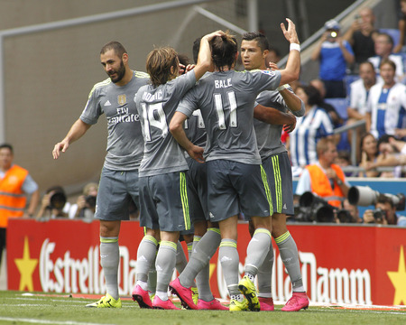 pepe: Players of Real Madrid celebrating goal during a Spanish League match against RCD Espanyol at the Power8 stadium on September 12 2015 in Barcelona Spain