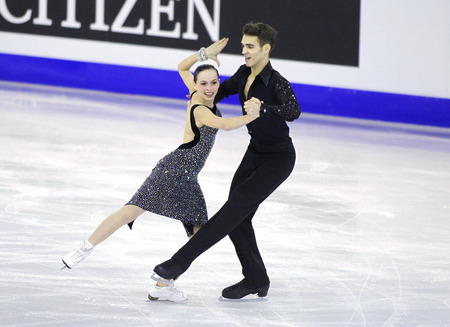 betina: Betina Popova and Yuri Vlasenko from Russia during Junior Pairs Ice Dance event of ISU Grand Prix of Figure Skating Final 2014 at CCIB on December 11, 2014 in Barcelona, Spain Editorial