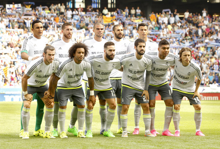 lineup: Real Madrid lineup before a Spanish League match against RCD Espanyol at the Power8 stadium on September 12 2015 in Barcelona Spain