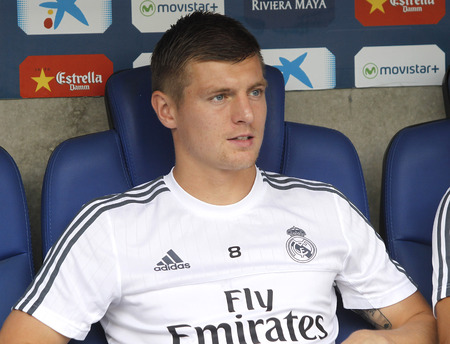 player bench: Toni Kroos manager of Real Madrid during a Spanish League match against RCD Espanyol at the Power8 stadium on September 12 2015 in Barcelona Spain