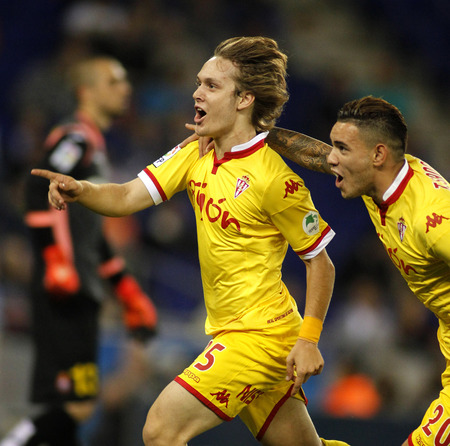futbol: Alen Halilovic of Sporting Gijon celebrating goal during a Spanish League match against RCD Espanyol at the Power8 stadium on October 3 2015 in Barcelona Spain