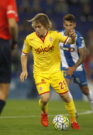 futbol soccer: Alen Halilovic of Sporting Gijon during a Spanish League match against RCD Espanyol at the Power8 stadium on October 3 2015 in Barcelona Spain
