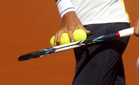 checks: A tennis player checks balls for serve a tennis ball during a match