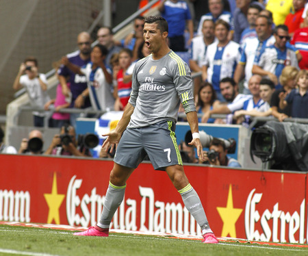 Cristiano Ronaldo of Real Madrid celebrating a goal during a Spanish League match against RCD Espanyol at the Power8 stadium on September 12 2015 in Barcelona Spain Editorial