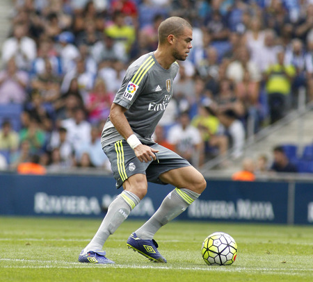 pepe: Pepe Lima of Real Madrid during a Spanish League match against RCD Espanyol at the Power8 stadium on September 12 2015 in Barcelona Spain Editorial