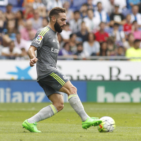 dani: Dani Carvajal of Real Madrid during a Spanish League match against RCD Espanyol at the Power8 stadium on September 12 2015 in Barcelona Spain Editorial