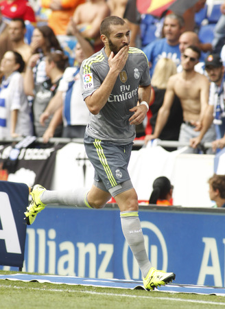 pepe: Karim Benzema of Real Madrid during a Spanish League match against RCD Espanyol at the Power8 stadium on September 12 2015 in Barcelona Spain