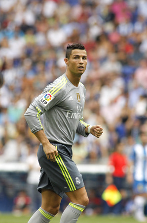 winger: Cristiano Ronaldo of Real Madrid during a Spanish League match against RCD Espanyol at the Power8 stadium on September 12 2015 in Barcelona Spain