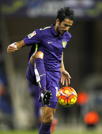 marcos: Marcos Angelieri of Malaga CF during a Spanish League match against RCD Espanyol at the Power8 stadium on November 21 2015 in Barcelona Spain