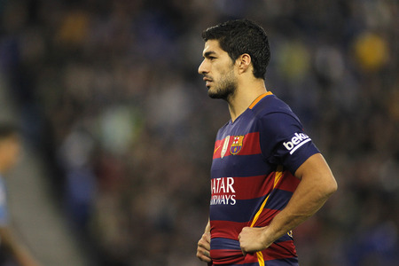 winger: Luis Suarez of FC Barcelona during a Spanish League match against RCD Espanyol at the Power8 stadium on January 2, 2016 in Barcelona, Spain Editorial