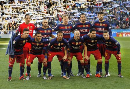 スペイン リーグ前に FC バルセロナのラインナップが戦 power 8 スタジアムで RCD エスパニョール バルセロナ、スペインで 2016 年 1 月 2 日に