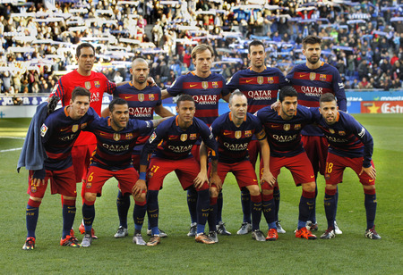iniesta: FC Barcelona lineup before a Spanish League match against RCD Espanyol at the Power8 stadium on January 2, 2016 in Barcelona, Spain Editorial