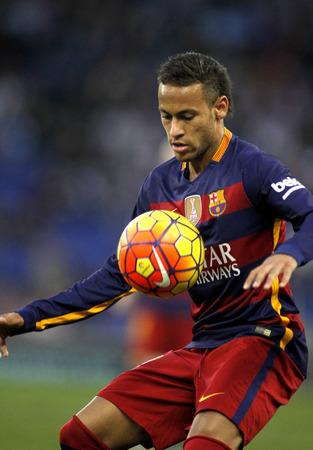 winger: Neymar da Silva of FC Barcelona during a Spanish League match against RCD Espanyol at the Power8 stadium on January 2, 2016 in Barcelona, Spain