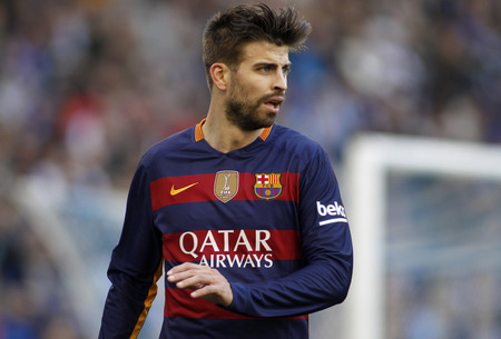 futbol soccer: Gerard Pique of FC Barcelona during a Spanish League match against RCD Espanyol at the Power8 stadium on January 2, 2016 in Barcelona, Spain