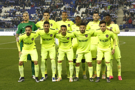 lineup: Levante UD lineup posing before a Spanish League match against RCD Espanyol at the Power8 stadium on December 7, 2015 in Barcelona, Spain Editorial