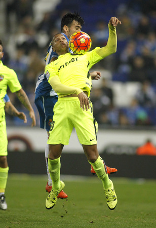 silva: Deyverson Brum Silva of Levante UD during a Spanish League match against RCD Espanyol at the Power8 stadium on December 7, 2015 in Barcelona, Spain Editorial