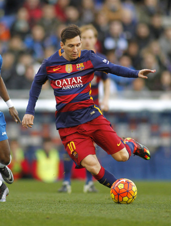 spanish: Leo Messi of FC Barcelona during a Spanish League match against RCD Espanyol at the Power8 stadium on January 2, 2016 in Barcelona, Spain