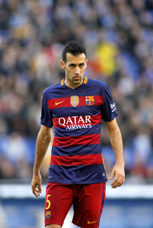 sergio: Sergio Busquets of FC Barcelona during a Spanish League match against RCD Espanyol at the Power8 stadium on January 2, 2016 in Barcelona, Spain Editorial