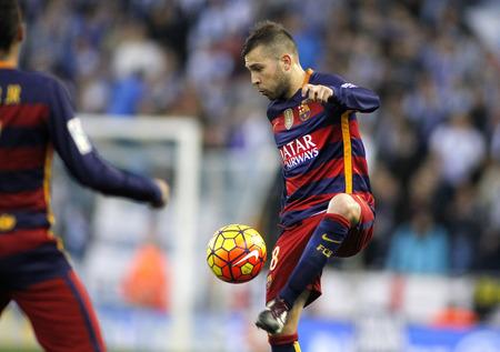 barcelone: Jordi Alba du FC Barcelone lors d'un match de la Ligue espagnole contre le RCD Espanyol au stade Power8 le 2 Janvier, 2016 Barcelone, Espagne
