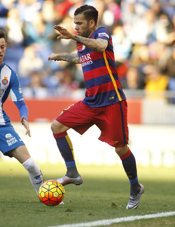 dani: Dani Alves of FC Barcelona during a Spanish League match against RCD Espanyol at the Power8 stadium on January 2, 2016 in Barcelona, Spain Editorial