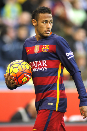 winger: Neymar da Silva of FC Barcelona during a Spanish League match against RCD Espanyol at the Power8 stadium on January 2, 2016 in Barcelona, Spain