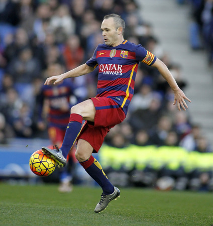iniesta: Andres Iniesta of FC Barcelona during a Spanish League match against RCD Espanyol at the Power8 stadium on January 2, 2016 in Barcelona, Spain