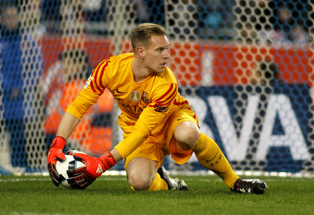 Marc-Andre ter Stegen of FC Barcelona during a Spanish Kings Cup match against RCD Espanyol at the Power8 stadium on January 13, 2016 in Barcelona, Spain Editorial