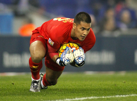 Alphonse Areola of Villareal CF during a Spanish League match against RCD Espanyol at the Estadi Cornella on January 23, 2016 in Barcelona, Spain
