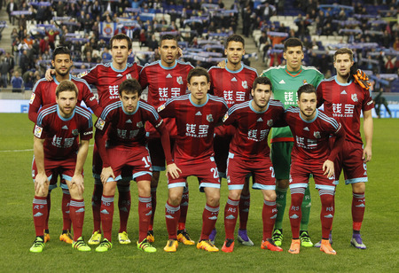 lineup: Real Sociedad lineup before a Spanish League match against RCD Espanyol at the Power8 stadium on February 8, 2016 in Barcelona, Spain