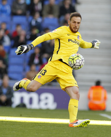 winger: Jan Oblak of Atletico Madrid during a Spanish League match against RCD Espanyol at the Power8 stadium on April 9, 2016 in Barcelona, Spain Editorial