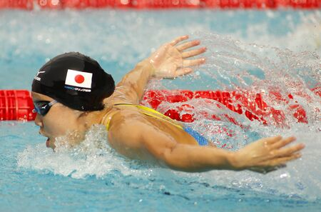 piscina olimpica: Japanese swimmer Natsumi Hoshi swimming Butterfly during the Trophy Ciutat de Barcelona in Sant Andreu Club, June 11, 2016 in Barcelona, Spain
