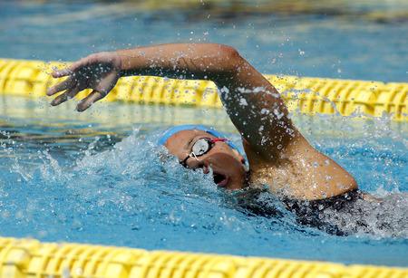 piscina olimpica: nadador español María Vilas rastreo de natación durante el Trofeo Ciutat de Barcelona en Sant Andreu de Club 11 de junio de 2016, Barcelona, ??España