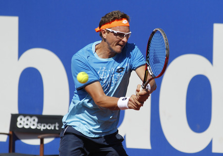 Uzbek tennis player Denis Istomin in action during a match of Barcelona tennis tournament Conde de Godo on April 19, 2016 in Barcelona