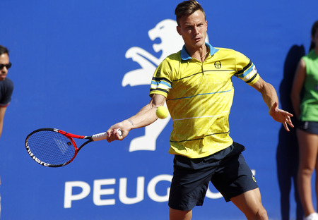 conde: Hungarian tennis player Marton Fucsovics in action during a match of Barcelona tennis tournament Conde de Godo on April 19, 2016 in Barcelona