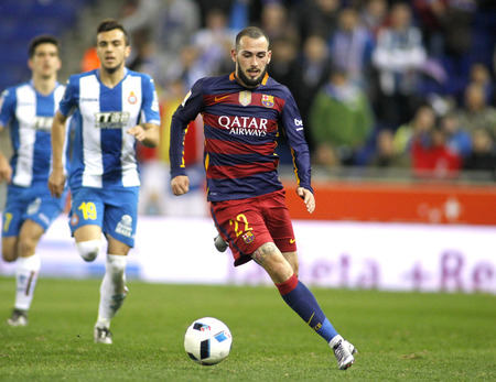 Aleix Vidal of FC Barcelona during a Spanish Kings Cup match against RCD Espanyol at the Power8 stadium on January 13, 2016 in Barcelona, Spain